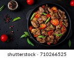 chicken liver  offal  with... | Shutterstock . vector #710266525