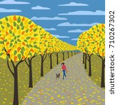 autumn in city garden poster....   Shutterstock .eps vector #710267302
