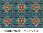 embroidery colorful floral... | Shutterstock . vector #710279512