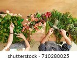 flowers delivery shop top view. ... | Shutterstock . vector #710280025