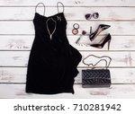 black dress and stylish...   Shutterstock . vector #710281942
