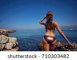 young attractive girl enjoys...   Shutterstock . vector #710303482