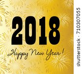 2018 happy new year on gold... | Shutterstock .eps vector #710307055