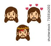 jesus christ face set in cute... | Shutterstock .eps vector #710316202