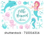 cute set little mermaid and...