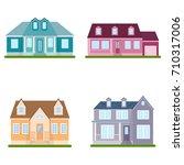 set of suburban houses on white ... | Shutterstock .eps vector #710317006