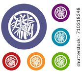 asian salad icons set in flat... | Shutterstock . vector #710318248