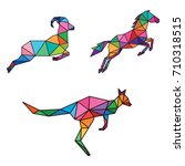 animal jumping low poly logo... | Shutterstock .eps vector #710318515