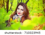 beautiful young woman   in the...   Shutterstock . vector #710323945
