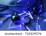 christmas toys. green and blue... | Shutterstock . vector #710329576