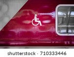 Small photo of White disabled sign on the side the train signify this train is for defective person.