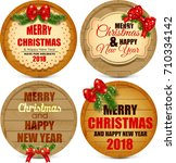 merry christmas and happy new... | Shutterstock . vector #710334142