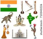 vector set of indian flat...   Shutterstock .eps vector #710343226