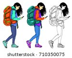 set of vector illustrations of... | Shutterstock .eps vector #710350075