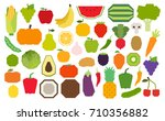 vector set of fruits and... | Shutterstock .eps vector #710356882
