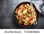 stir fry with  chicken ... | Shutterstock . vector #710360866
