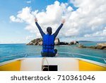 back view of the traveler woman ... | Shutterstock . vector #710361046
