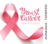 realistic pink ribbon  breast... | Shutterstock .eps vector #710369332