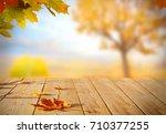 Autumn Maple Leaves On Wooden ...