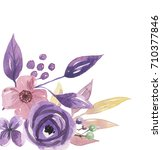watercolor hand painted purple... | Shutterstock . vector #710377846