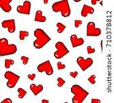 vector pixel 8 bit red hearts...   Shutterstock .eps vector #710378812