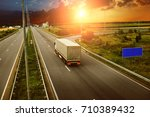 the countryside road against... | Shutterstock . vector #710389432