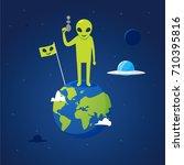 alien is standing on earth | Shutterstock .eps vector #710395816
