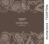 background with passion fruit ... | Shutterstock .eps vector #710397046
