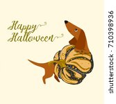 postcard happy halloween with a ... | Shutterstock .eps vector #710398936