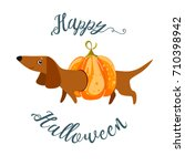 postcard happy halloween with a ...   Shutterstock .eps vector #710398942