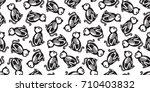halloween cat skull bone ghost... | Shutterstock .eps vector #710403832