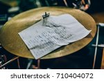 closeup of lyrics paper with a... | Shutterstock . vector #710404072