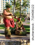 hawaiian luau. a man in a... | Shutterstock . vector #710408122