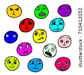 set doodle faces. the facial... | Shutterstock . vector #710412052