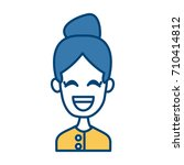 woman smiling with eyes closed   Shutterstock .eps vector #710414812