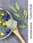 composition   cosmetic clay... | Shutterstock . vector #710415928