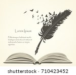Stock vector writing old feather with flying birds and open book 710423452