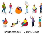 isometric set of students with... | Shutterstock .eps vector #710430235