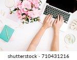 flat lay home office desk.... | Shutterstock . vector #710431216