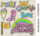 cute girly sticker patch design ... | Shutterstock .eps vector #710506246
