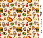 seamless fast food pattern | Shutterstock .eps vector #71051323