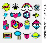 pop art vector stickers  labels ... | Shutterstock .eps vector #710515918