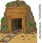cartoon mine entrance | Shutterstock .eps vector #710518396