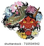 japanese demon mask with lotus... | Shutterstock .eps vector #710534542