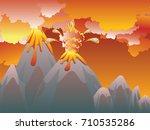 illustration of cartoon volcano ... | Shutterstock .eps vector #710535286