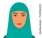 beautiful face of arab muslim... | Shutterstock .eps vector #710546122