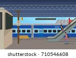 illustration of railway station | Shutterstock .eps vector #710546608