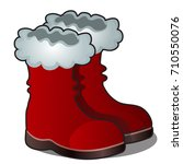 christmas cartoon red boots of... | Shutterstock .eps vector #710550076