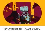 t rex illustration | Shutterstock .eps vector #710564392