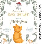 baby shower invitation with fox ... | Shutterstock .eps vector #710566726